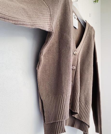 綿Knit畔編みサイドスリットカーディガン