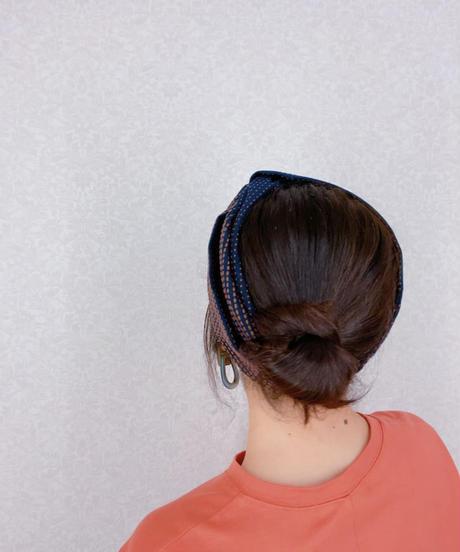ブルーオニオン originalヘアターバン 刺し子風 【人気‼️再入荷】