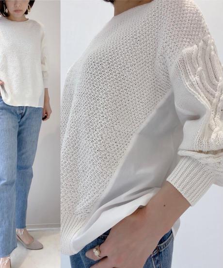 Knit布帛ドッキングプルオーバー