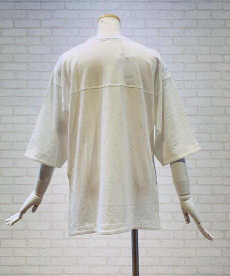 【白×赤 追加】アメフトシャツ風ロゴカットソー