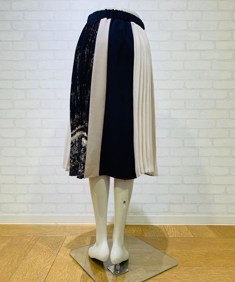 【2019初秋】 プリント無地プリーツ切り替えドッキングスカート