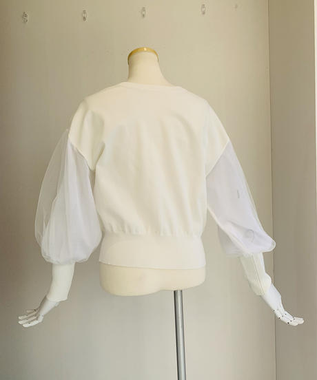 袖チュール両面着用cottonカーディガン