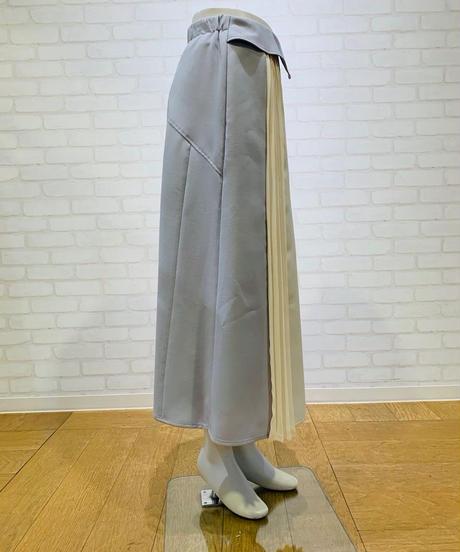 バイカラー・プリーツ切替ウェストバックルスカート