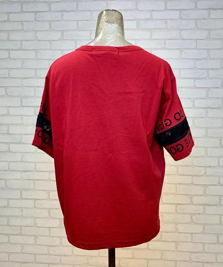 ロゴ&レース袖Tシャツ