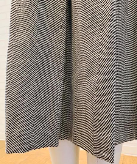 ヘリンボーンxジオメトリック綿ガーゼ 切り替えドッキングスカート