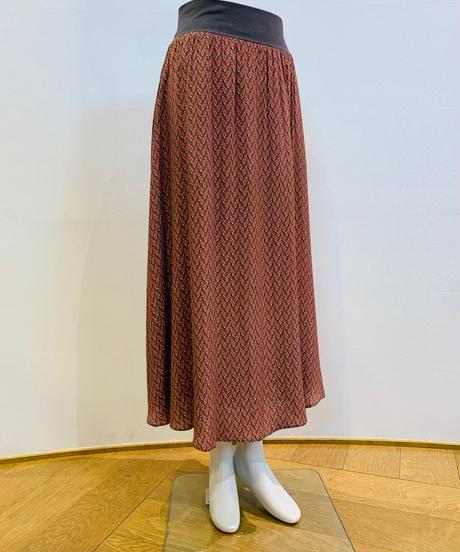 綾織風ボタニカル柄ゴムウェストlongスカート