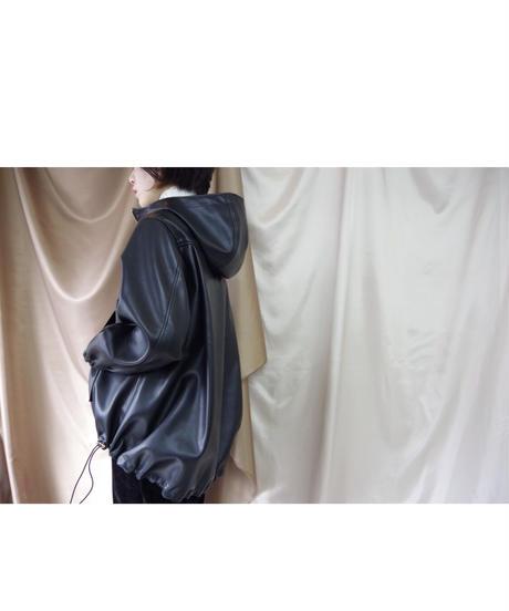 【MARGAUXご予約】シンセティックレザーアノラックブルゾン