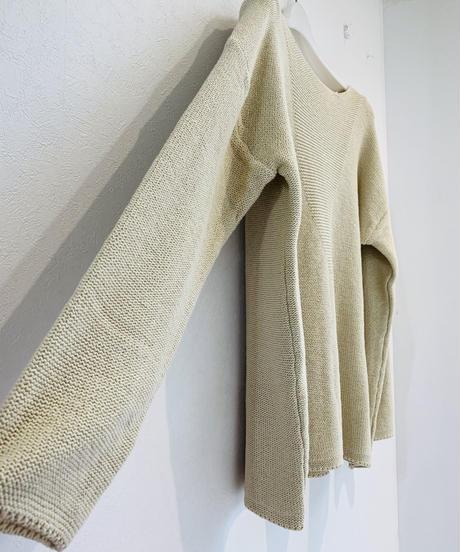 コットン横編みプルオーバー