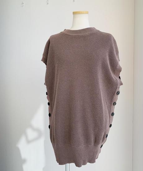 コットン畔編みサイド釦フレンチKnitジレ