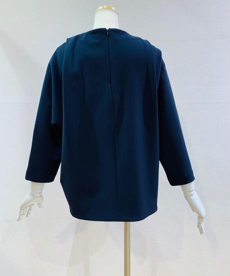 襟元刺繍スモッグ調プルオーバーブラウス(セットアップ)