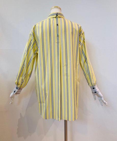 袖リブ ストライプシャツ