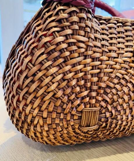 籠クラッチバッグ ラウンド編み