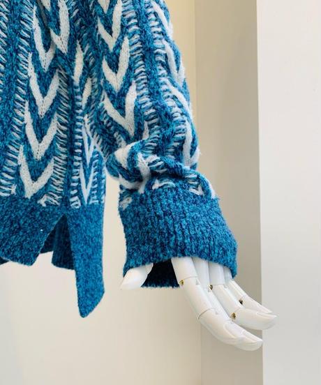 【Punt D'oro'21秋冬ご予約】 Bouclé Knit. 配色ヘリンボーン編みプルオーバー