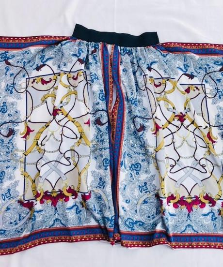 パネルプリントスカーフ ドレープ スカート