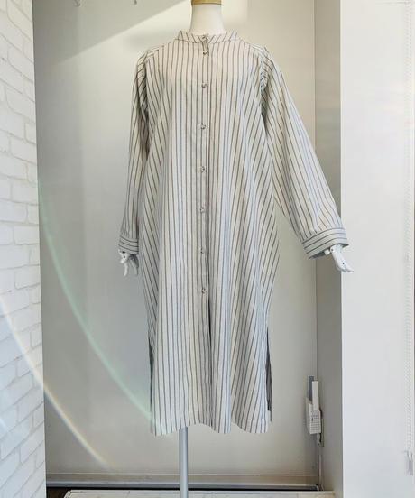 バンドカラーストライプlongシャツジャケット (set up)