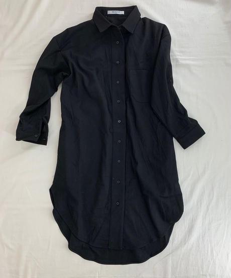 バックストラップ ラウンド裾ネルシャツチュニック