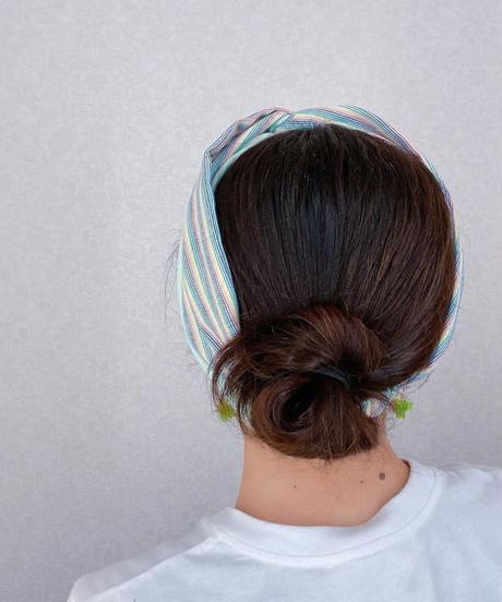 ブルーオニオンoriginalヘアターバン マルチピンストライプ