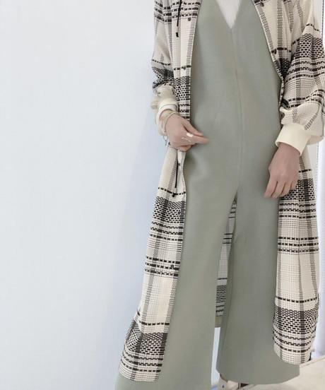 シアーチェック織柄ドロストシャツワンピース