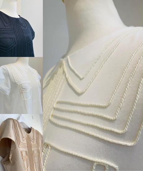 コード刺繍フレンチ袖Tee