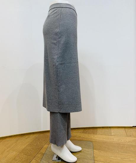 ラップスカート付きニットリブパンツ
