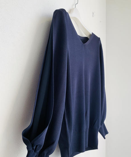 袖シフォンレイヤードVネック春knit
