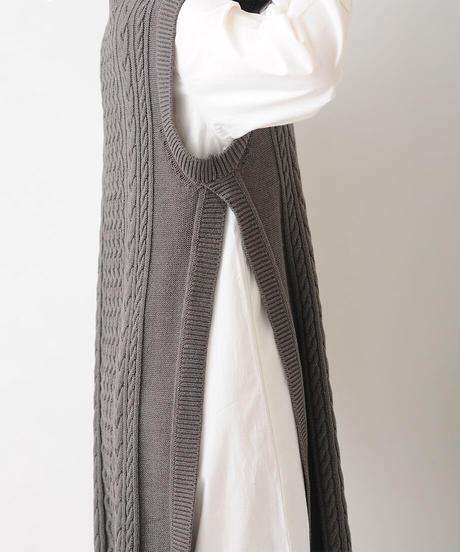 ロングベスト×ロングシャツセット(ブラック)