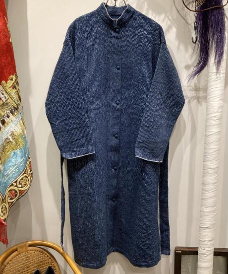 TIGRE BROCANTE (ティグルブロカンテ) Navy Kantha West Belt Shirt Coat(ネイビーカンタウエストベルトシャツコート)