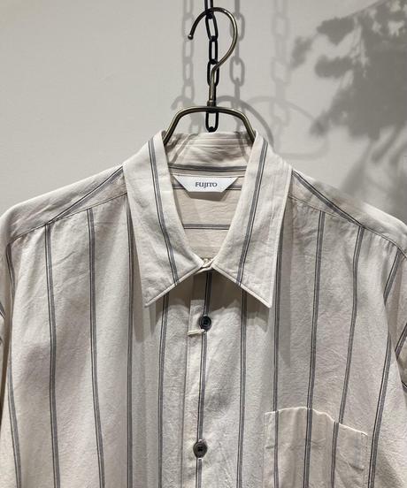 FUJITO (フジト)  B/S WHITE STRIPE SHIRT(ビックシルエットホワイトストライプシャツ) manufactured in karatsu