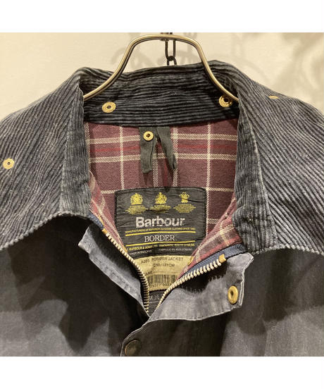 """Vintage Over Size Barbour """"BORDER"""" Reproof Navy"""