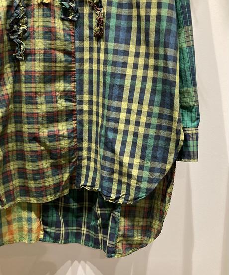 TIGRE BROCANTE (ティグルブロカンテ) Pull Over Frill Long Shirt  Madras Check