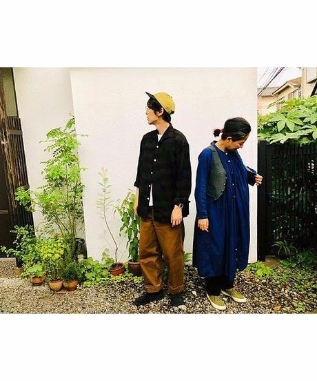 SOWBOW(ソウボウ)蒼氓シャツ 久留米絣ONE PEACE COLLAR 絣市松 KASURI-ICHIMATSU