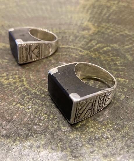 Touareg Silver(トゥアレグ シルバー) ring 11 (Block Ebony wood )