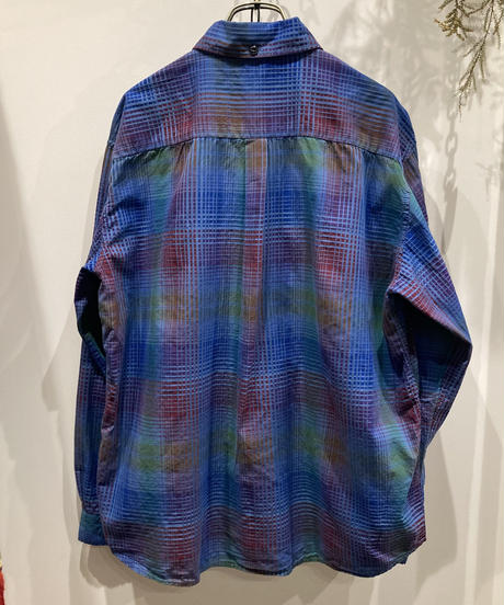 TIGRE BROCANTE (ティグルブロカンテ) RAINBOW SATIN CHECK  BUTTAN DOWN OPEN L/S SHIRT