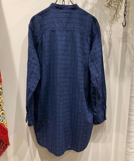 TIGRE BROCANTE (ティグルブロカンテ) India stand shirt satin dobby check