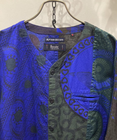 TIGRE BROCANTE (ティグルブロカンテ) African Batik Stole Man Shirt(アフリカンバティックストールマンシャツ)