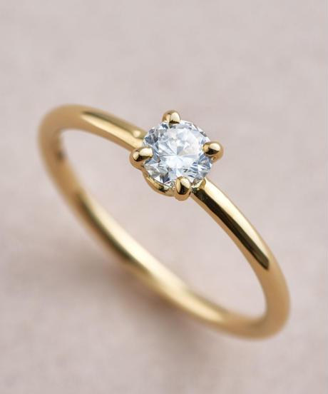 Engagement Ring, K18YG, Diamond Round Brilliant Cut