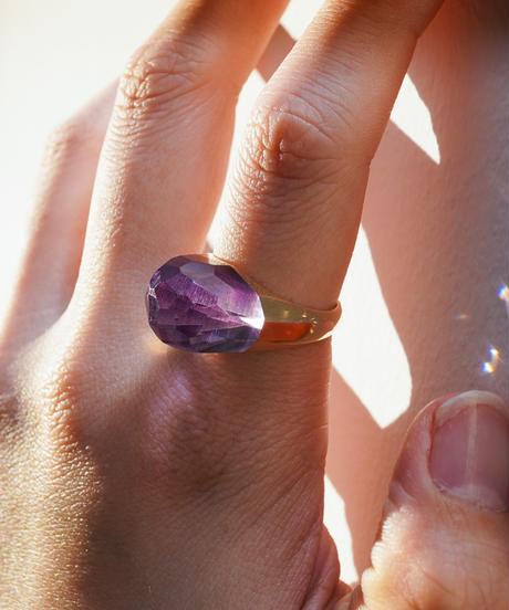 Amethyst Mini Rock Ring /Faceted Round