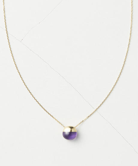 Amethyst  Rock Necklace /Horizontal Round sizeS