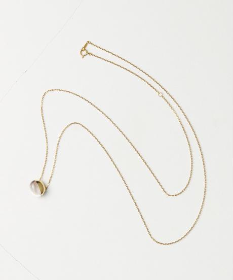 Rose Quartz Rock Necklace /Horizontal Round sizeS