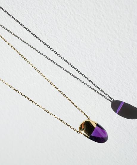 Amethyst  Rock Necklace /Vertical Round sizeS