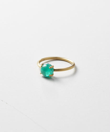 Emerald Cabochon Gem Ring