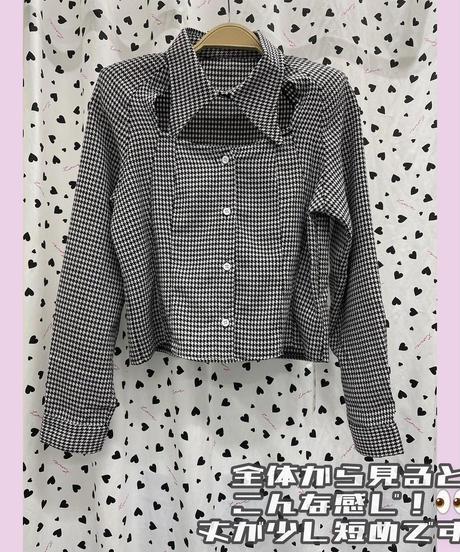 """  """"胸空きチェックトップス💄💋""""  (NO.8090)"""