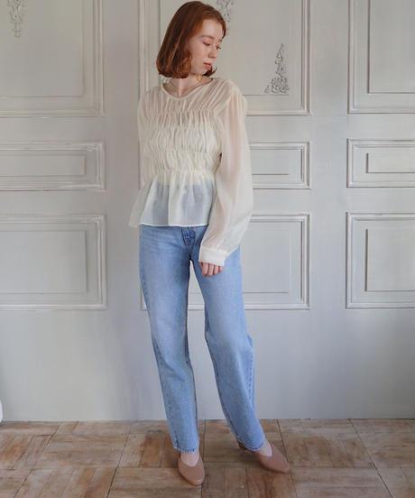 shirring chiffon blouse