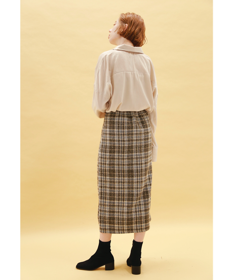 pencil check skirt