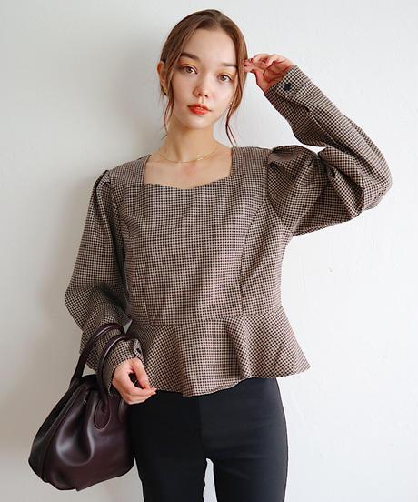 peplum check blouse