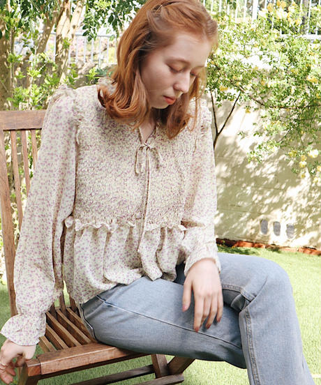 florets shirring blouse