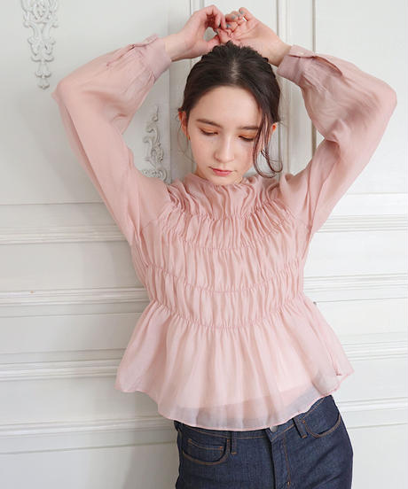 shirring chiffon blouse