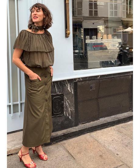 <BOUQUET de L'UNE> ブーケ・ドゥ・リュンヌ チューリップラインスカート