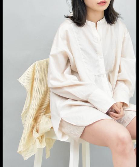 ブザム切替ロングシャツ ivory [211FB002-03]