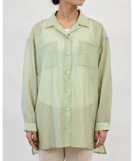 ダブルポケット ワッシャーシアーシャツ light green [204FB006-63]